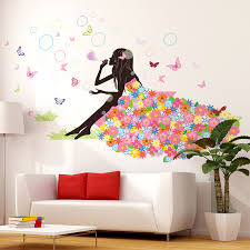 girl blowing bubbles wall sticker interior design cartoon wall art diy home decor for kids rooms living room decoration wall stickers