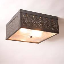 Image Chandeliers Irvins Tinware Square Ceiling Light With Chisel In Blackened Tin Irvins Tinware