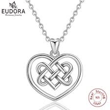 whole eudora 925 sterling silver good luck irish celtics love knot pendant necklace heart charms for women girl fine jewelry gift d306 silver jewelry