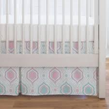 seafoam aqua and pink moroccan damask crib skirt single pleat