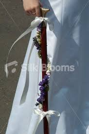 Walking Cane Decorations Shop Purple and Ivory Mini Rose Walking StickCane with Purple 24