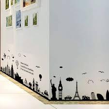 fashion eiffel tower sydney greek city building set diy wall stickers livingroom decor mural decal