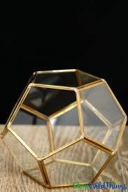 Geometric <b>Pentagon</b> Terrarium & Candle Holder - <b>Gold</b> - 4 3/4