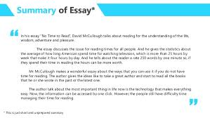 essay analysis no time to by david mccullough summary of essay