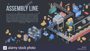 Assembly Line Design Assembly Line Factory Concept Background Isometric Style