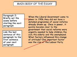"higher history essay skills essay question ""simply a response to  when the liberal government came to power in 1906 they did not have a detailed"