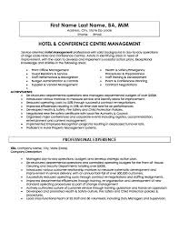Hotel and Conference Centre Manager Resume