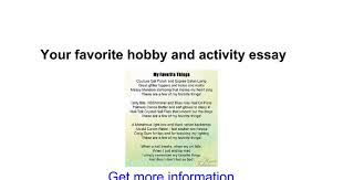 your favorite hobby and activity essay google docs