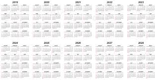 Editable 2015 2020 Calendar Ten Years Simple Editable Vector Calendars For Year 2019 2020