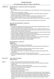 Example Of Medical Assistant Resume Senior Medical Assistant Resume Samples Velvet Jobs