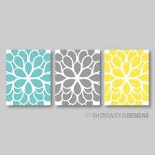 flower wall art teal blue yellow gray by rhondavousdesigns2 on blue and gray bathroom wall art with shower curtain in yellow blue gray floral standard and extra long