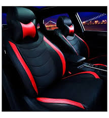 vp1 pu leather car seat cover black red