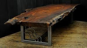 a live edge claro walnut slab coffee table