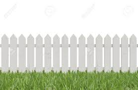 white fence. Stock Photo - White Fence And Green Grass, 3d Render R
