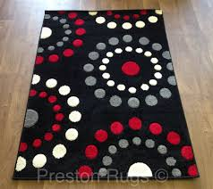 Red Rugs For Kitchen Details About Rug Runner Modern Spots Circles Black Red Silver