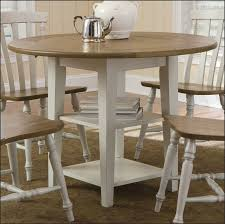 chic brown and white oval coastal wood 42 inch round dining table with 4 chair sets idea