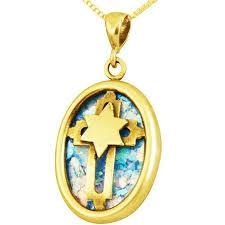 roman glass star of david with cross pendant 14k gold jewelry
