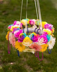diy flower chandelier outdoors