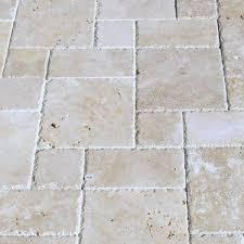 walnut travertine paver 3pc roman pattern unfilled brushed chiseled edge tan brown beige cream outdoor floor