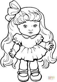 Small Picture Baby Girl Doll with Long Hair coloring page Free Printable