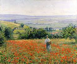 leon painting woman in a poppy field by leon giran max