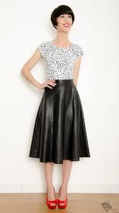 vintage 80s leather black midi flared skirt size s