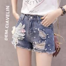 <b>Women</b> Jeans Shorts <b>2019 Summer</b> Fashion Embroidery Shorts ...