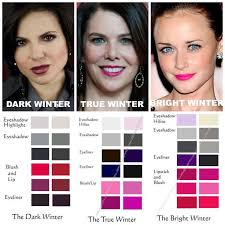 winter makeup parisons dark true bright notice how the in middle has noticeably cool