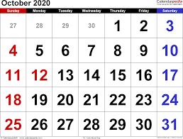 October 2020 Calendars For Word Excel Pdf