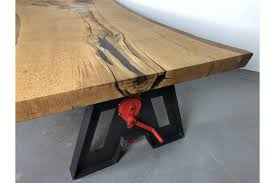 Esstisch Höhenverstellbar Eiche Massiv Epoxid Tischplatte Unikat 246x