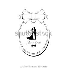 Wedding Invitation Silhouette Bride Groom Wedding Stock Illustration