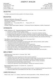Internship Resume Objective Sample Resume Letters Job Application