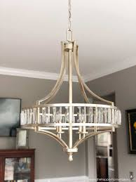 dining room with painted and lighting update i love this glasercury glass chandelier