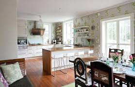 kitchen wallpaper ideas elegant wallpaper unites the kitchen with the dining and living space visually from kitchen wallpaper ideas