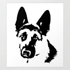 german shepherd dog gifts art print