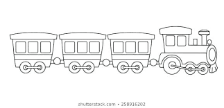 Train Coloring Kids Toy Train Coloring Book Graphic Isolated On