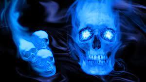 blue flame skull wallpaper