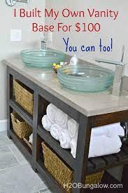 diy open shelf vanity diy bathroom