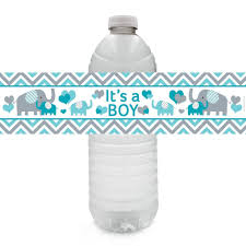Teal Blue And Gray Elephant Baby Boy Shower Water Bottle Labels