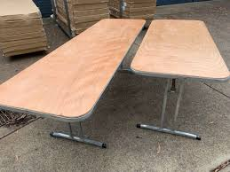 metal framed wood top 6ft and 8ft long tables