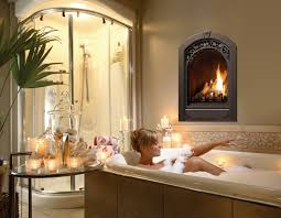 awesome gas fireplace in bathroom design