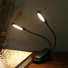 Battery Powered Clip On Light Double Heads 10 Led Clip Table Light 3 Modes Dimming Battery Powered Desk Lamp For Reading Working