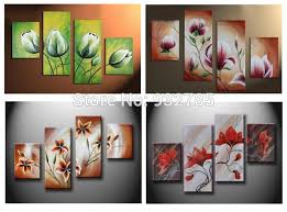 >green yellow flower oil paintings large canvas art cheap modern 4  green yellow flower oil paintings large canvas art cheap modern 4 piece wall art set handpainted
