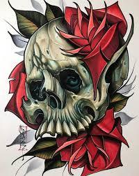 эскиз тату с черепом в стиле Neo Traditional Tattoo череп