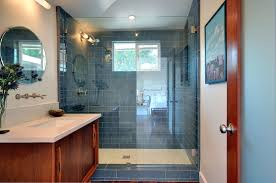 Subway Blue Glass Tile Bathroom Shower With Glass Door Combined With Wooden  Bathroom Vanity And Oval Wall Vanity Mirror In Bathroom Tile Ideas For  Shower ...