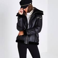 river island women s coats jackets black faux leather aviator jacket 702410