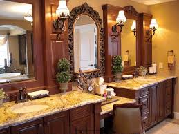 bathroom double brown wooden bathroom vanities with cream granite top added by brown wooden carving
