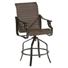 allen roth safford set of 2 aluminum swivel patiobar stool chairs with woven seat