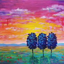 acrylic painting lesson for beginners unique easy sunset landscape drip trees