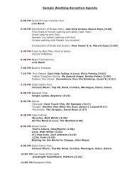 Program Of Events Sample Reception Set Up Order Of Events Sample Photo Altpaper Co